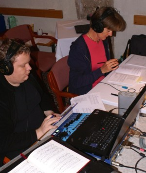 Producer Hermine Starringa and Recording Engineer Georg Burdicek at work on location at Heiligenkreuz Abbey. © Tonzauber 2008.